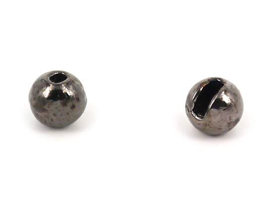 Tungsten beads slotted - BLACK NICKEL - 10 pc.