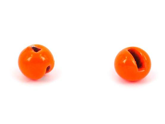 Tungsten beads slotted - FLUO ORANGE - 10 pc.