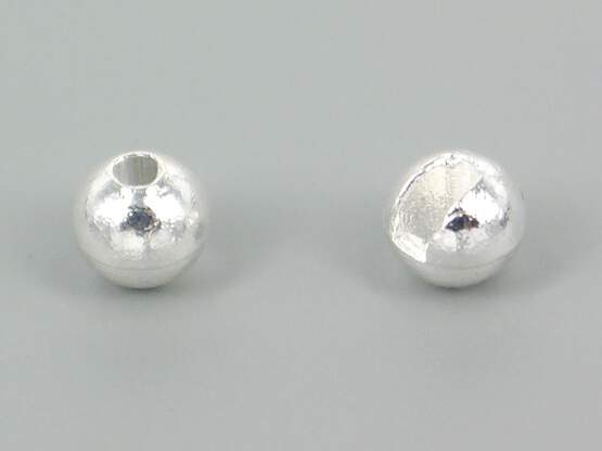 Tungsten beads slotted - SILVER - 10 pc.