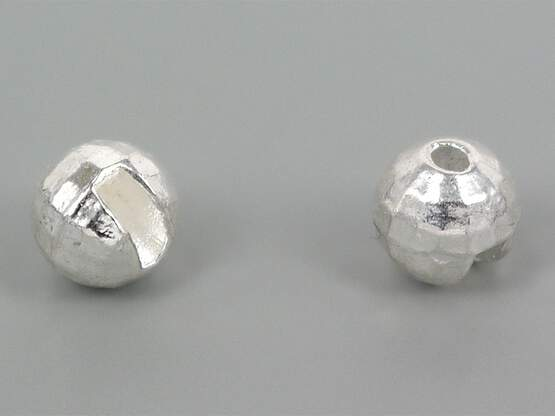 Tungsten beads faced - SILVER - 10 pc.