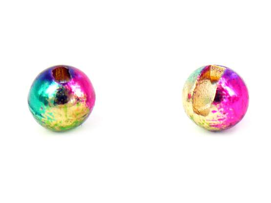 Tungsten beads slotted - RAINBOW - 100 pc.