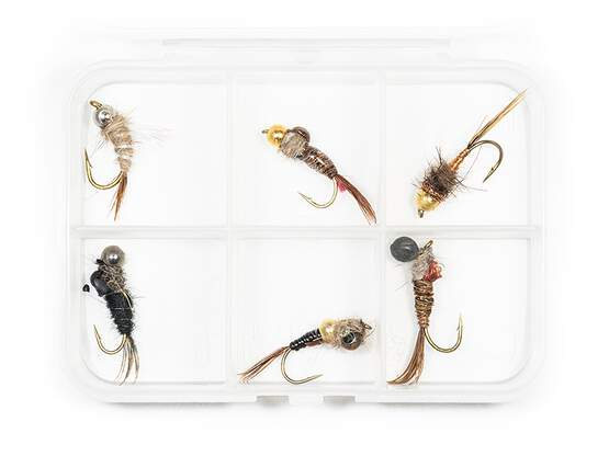 Selection HEAVY METAL V1 NYMPHS - 6 flies with box