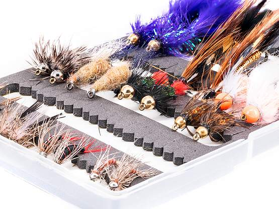 Selection STREAMERS NYMPHS CLASSIC - 22 flies with box