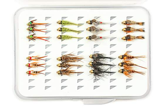 Selection BRASS BEAD HEAD NYMPHS EVERY DAY - 24 flies with box