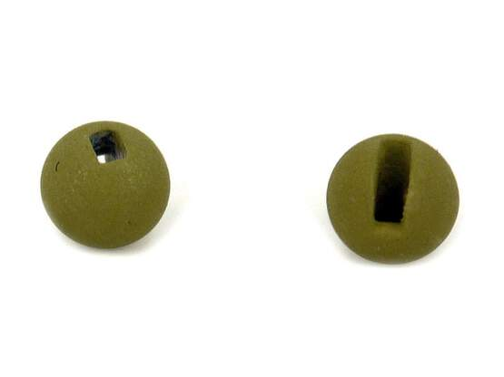 Tungsten beads slotted - MATT OLIVE - 100 pc.